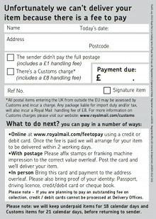 Pay a Fee Card – Copyrights by Royal Mail