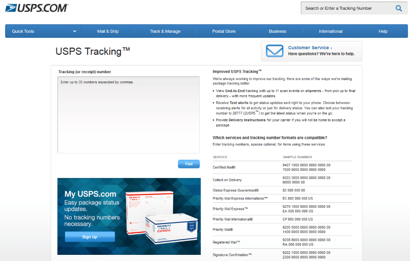 usps tracking track and trace
